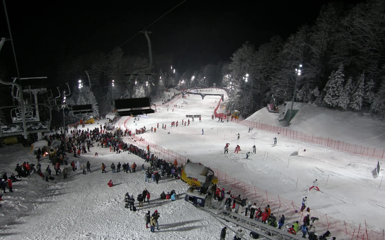 Night skiing on Mount Medvednica